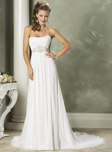 White Baby Doll Strapless Beaded Chiffon Column Sheath Wedding Dress
