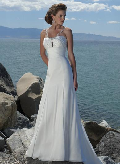 Simple V Shaped Beaded Chiffon Beach Destination Wedding