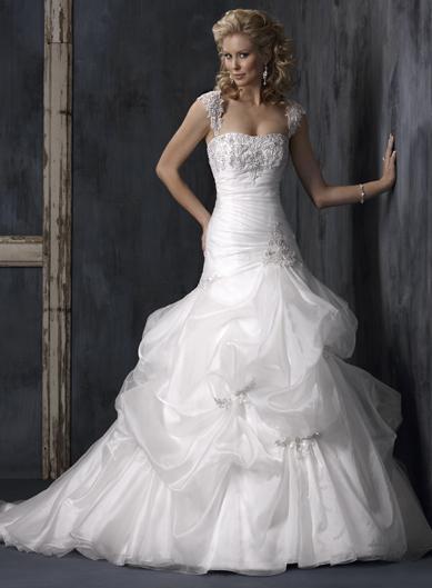 crystal embellished lace organza a line princess wedding dress prlog