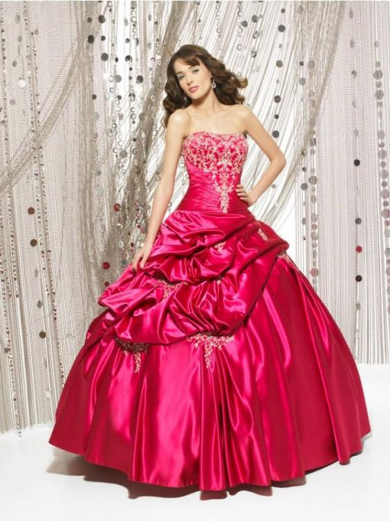 Red Applique Taffeta Quinceañera Ball Gown Dress Sweet Sixteen ...