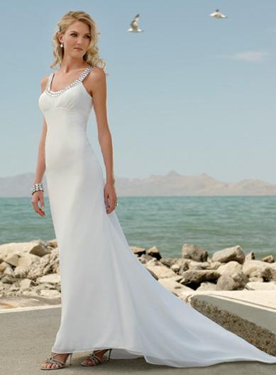 Beach Jewels Straps Chiffon Column/Sheath Destination Wedding ...