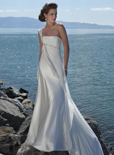 Ivory Romantic One Shoulder Beaded Beach Destination