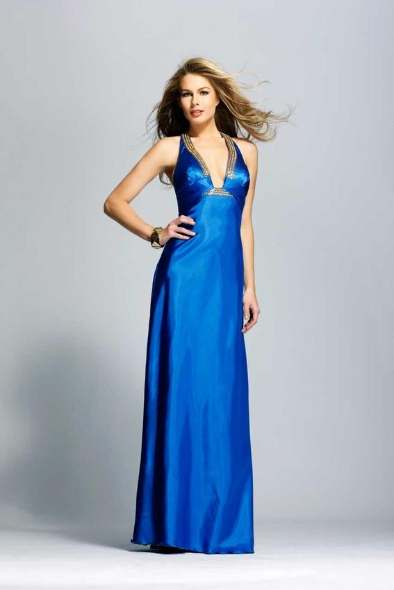 Halter Top Full length Beaded Royal Blue Satin Prom Gown Evening ...