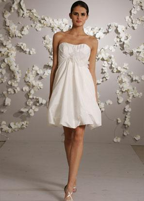 short cocktail length floral taffeta destination ivory wedding dress