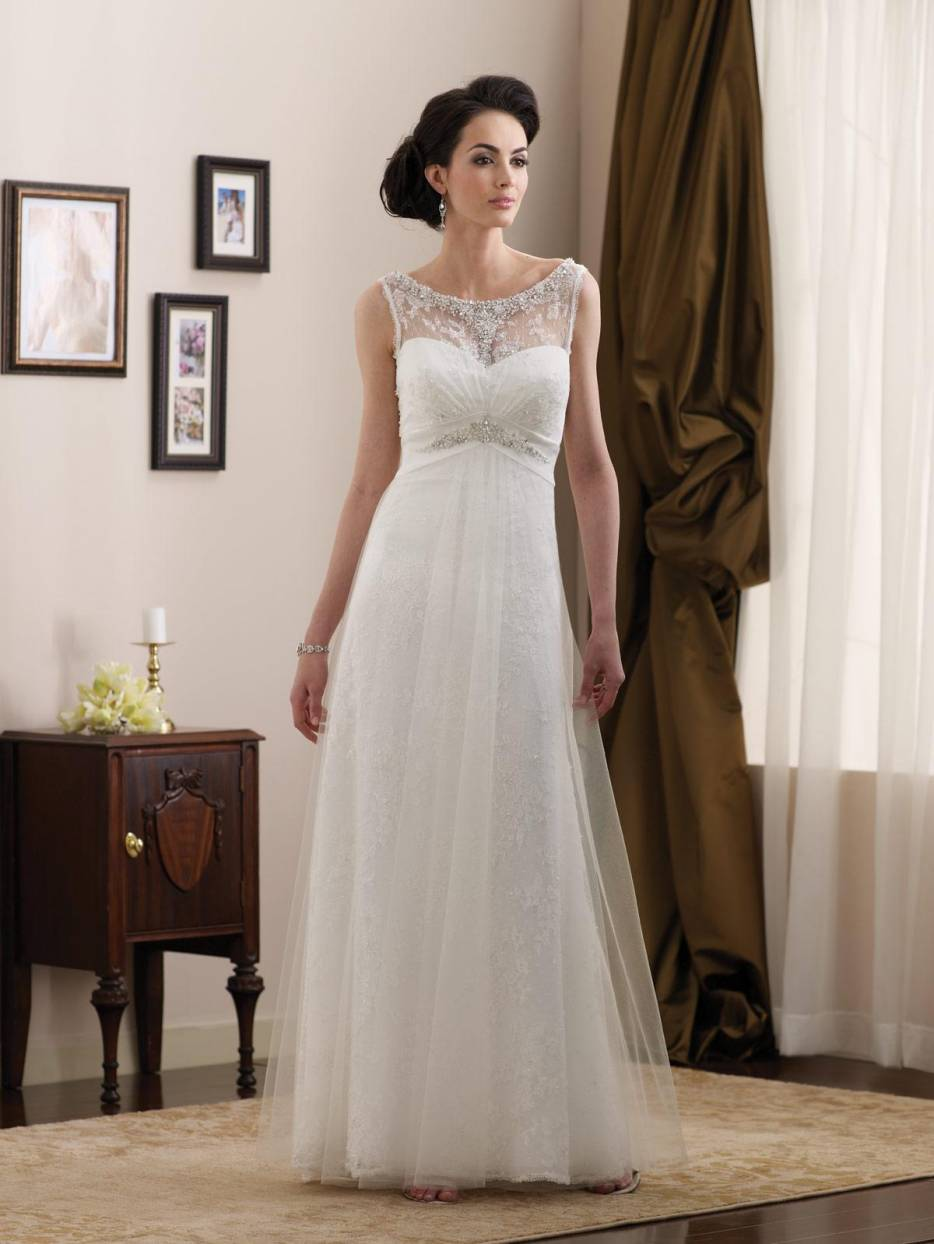 Simple beaded lace satin full length a line informal for Satin a line wedding dress