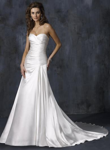 Ivory simple strapless pleats stretch satin a line for Simple ivory wedding dresses