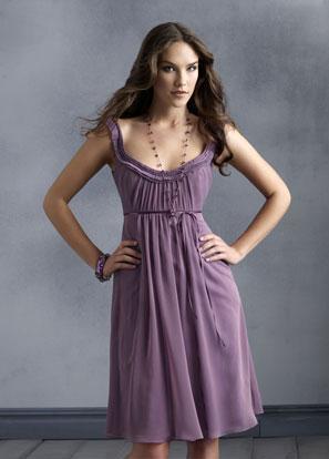 scoop neckline tea length sash chiffon purple bridesmaid dress prlog. Black Bedroom Furniture Sets. Home Design Ideas