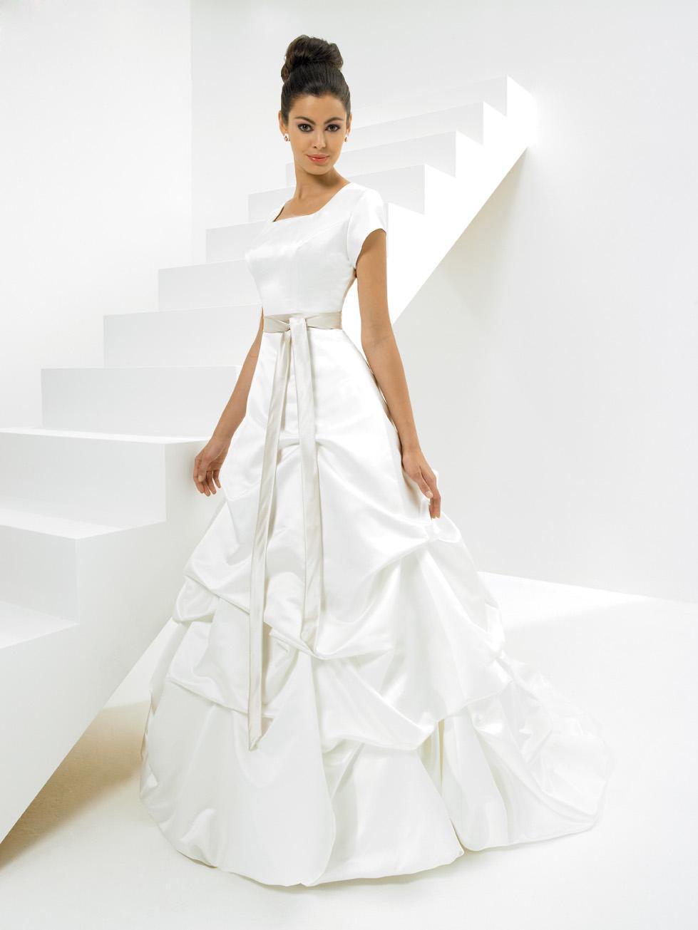 strapless sash ruffles satin ball gown modest wedding