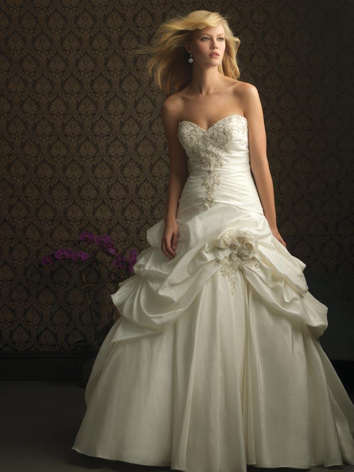 Ivory Strapless Romantic Taffeta Ball Gown Unique Designer