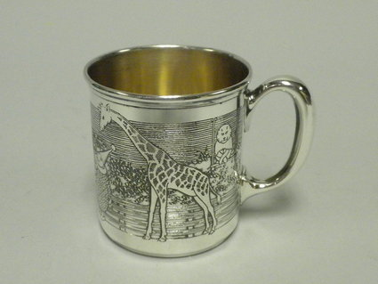 sterling silver antique baby cup