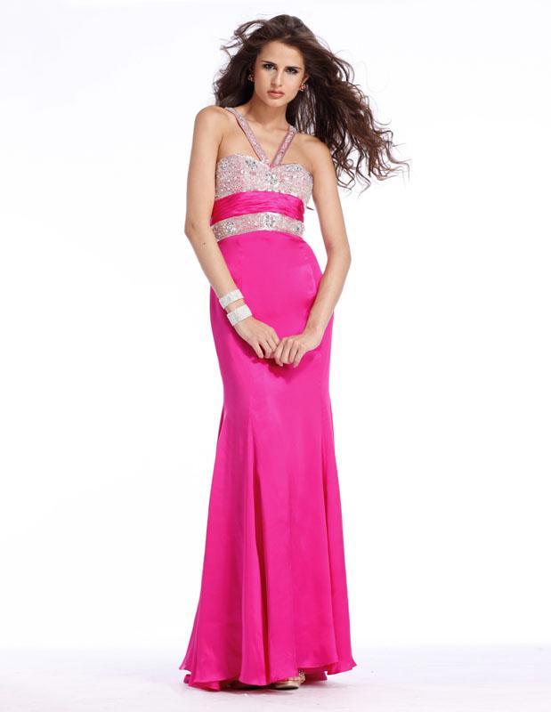Fuschia Purple Sweetheart V-straps Full length Beaded Prom Gown ...