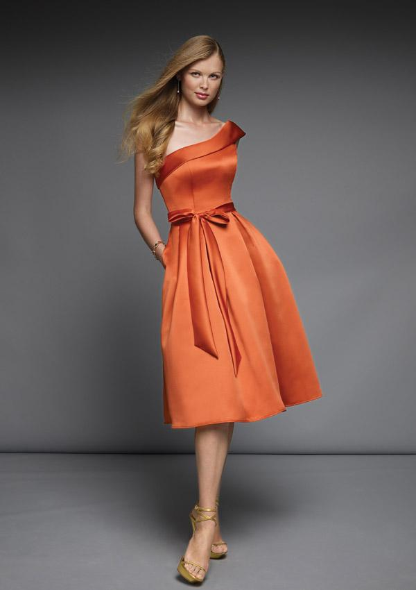 Orange A line Silhouette Bridesmaid Dress 2011