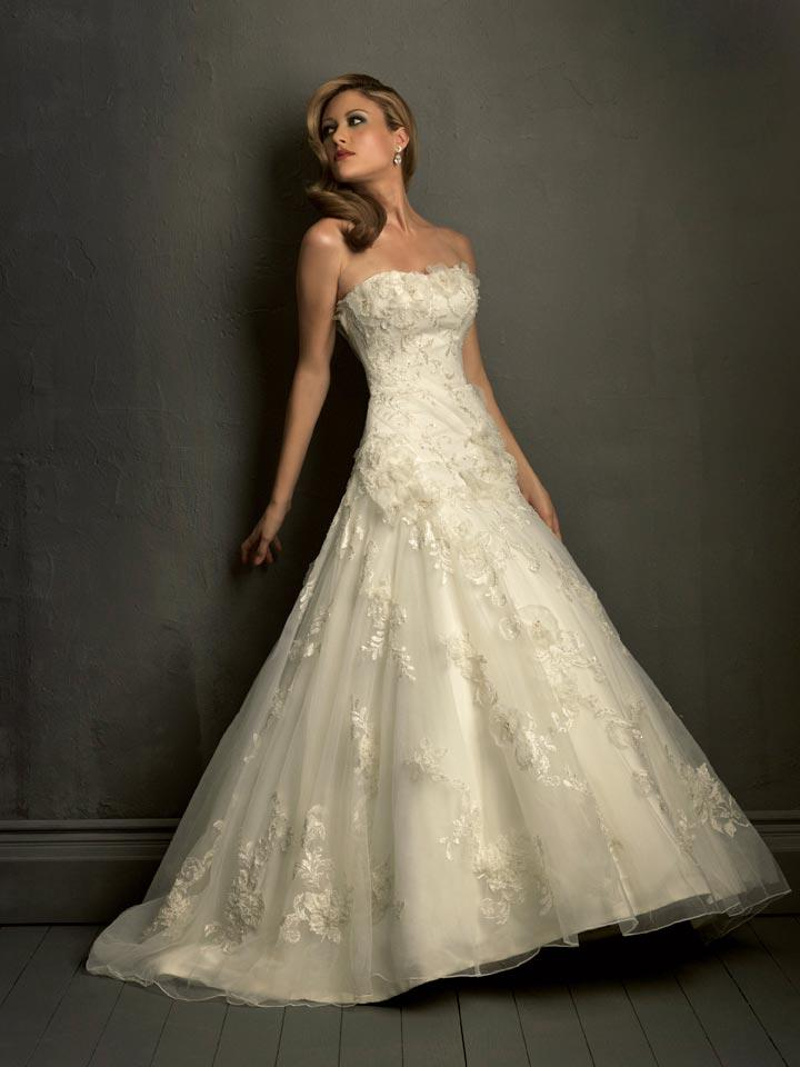 Ivory Strapless Lace Empire Waist Formal Wedding Dress Zoombridal