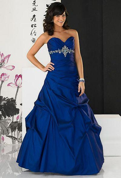 Evening  Formal Dresses on Strapless Full Length Beaded Taffeta Prom Gown Evening Dresses   Prlog