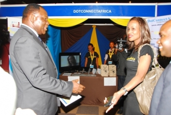 PS. Ndemo and Ms.Bekele @ DotConnectAfrica Stand
