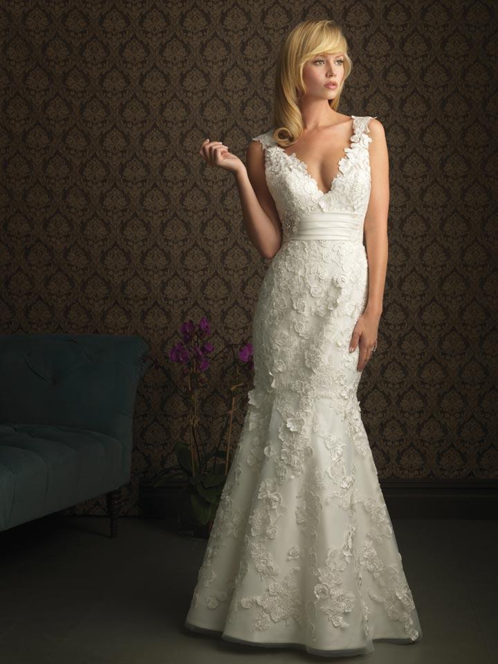 Ivory Lace Appliqués Beaded Mermaid /Trumpet Unique Wedding Dresses ...