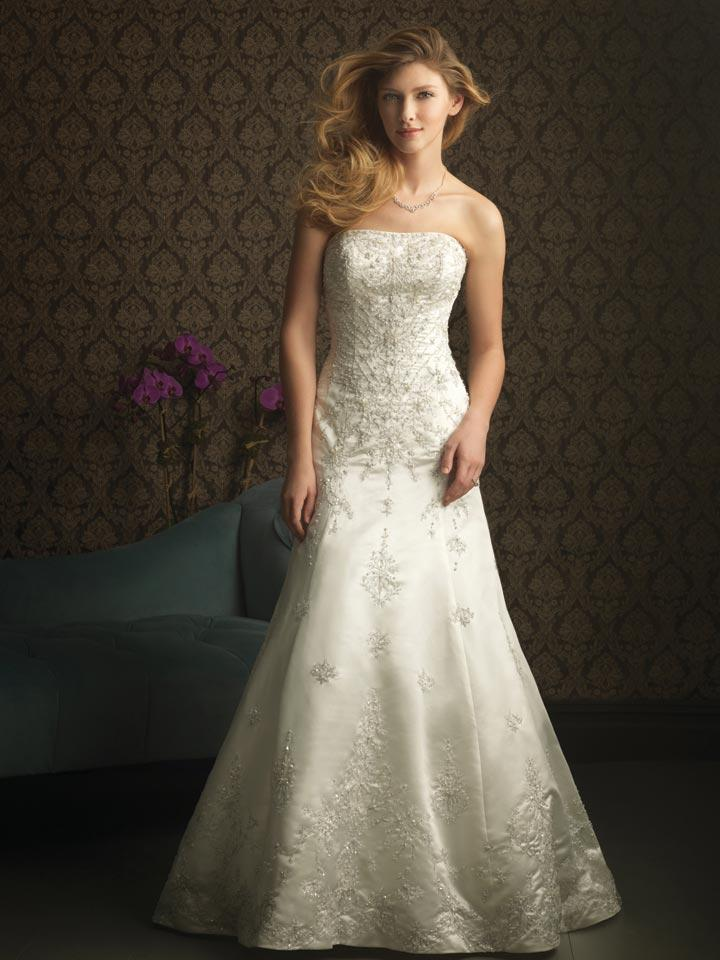 Ivory strapless embroidery beaded formal unique wedding