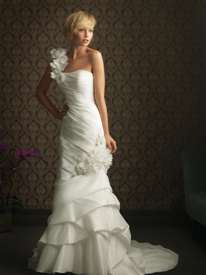 Ivory One Shoulder Floral Taffeta Column Sheath Unique Wedding Dress Zoombridal
