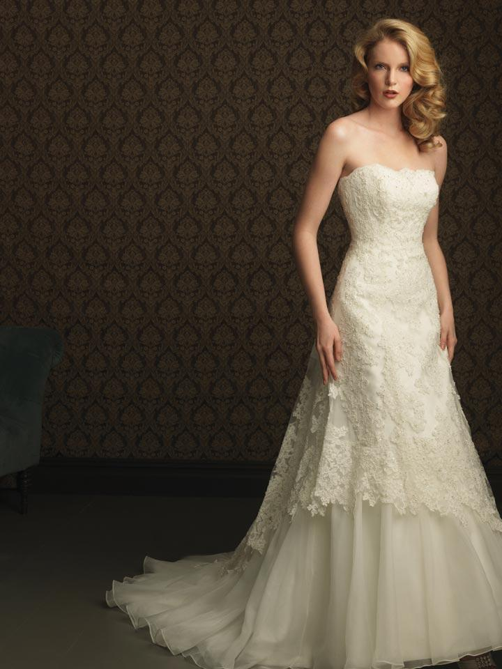 Unique Lace Wedding Dresses : Ivory lace appliqu? beaded formal unique wedding dresses