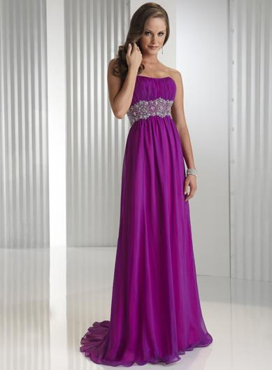 Purple Crystals Beaded Full Length Chiffon Satin A Line