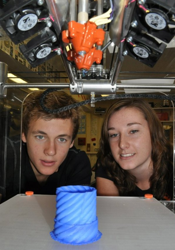 Aaron Thorogood and Emily Downing from Clevedon School check out the BfB 3000