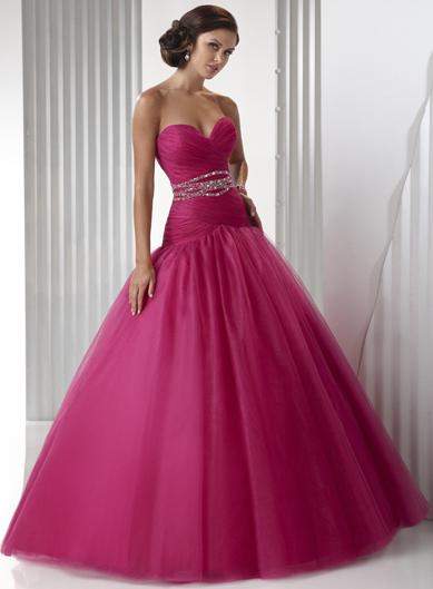 Hot Berry Pink Strapless Embellished Tulle Ball Gown Prom Dress