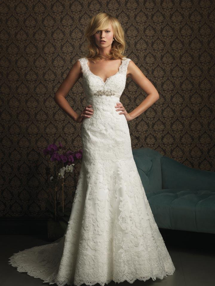 Unique Lace Wedding Dresses : Gorgeous lace appliqu? a line princess unique wedding dresses prlog