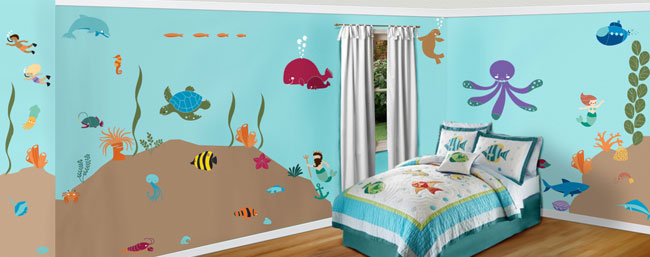 Under the sea theme wall mural stencil kit stephanie for Disney wall stencils for painting kids rooms