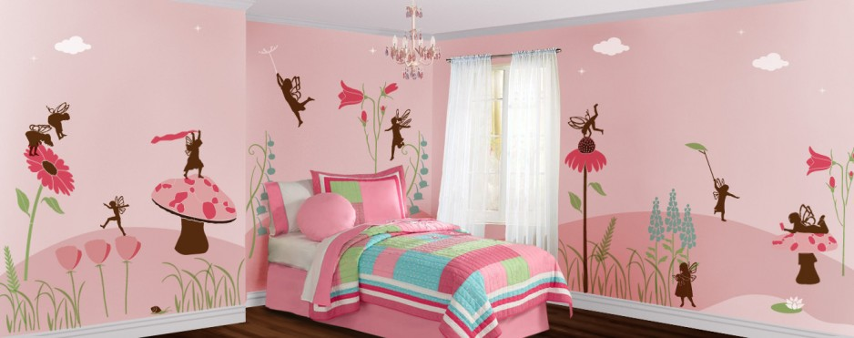 Fanciful fairies wall mural stencil kit stephanie goins for Girls murals