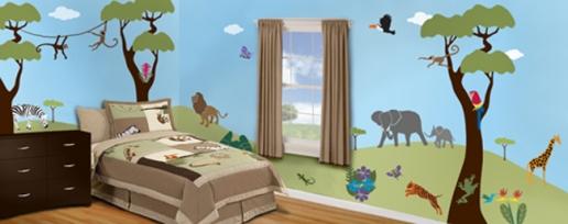 Wild Jungle Safari Theme Mural Stencil Kit Home Design Ideas