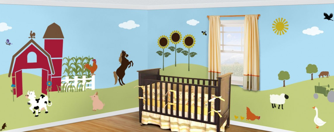 Friendly Farm Theme Wall Mural Stencil Kit Stephanie