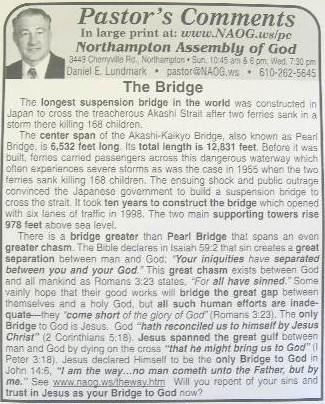 "Pastor's Comments"" newspaper column, ""The Bridge,"" proclaims Jesus ..."