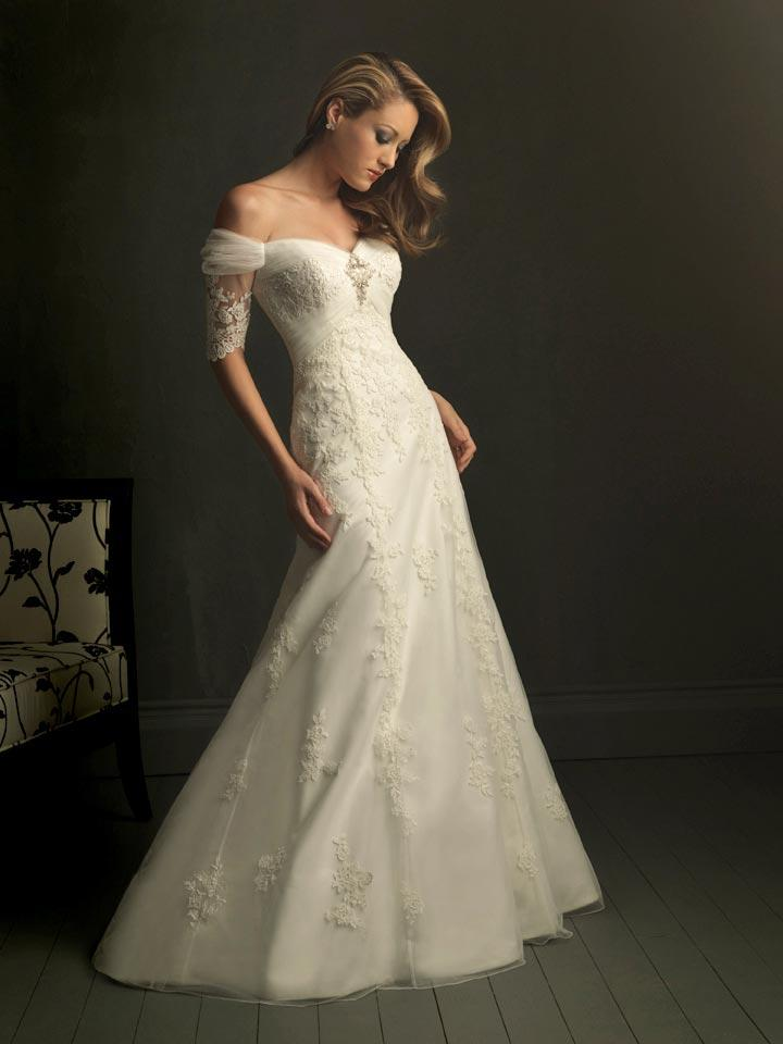 ivory v neck off the shoulder unique wedding dresses with With off the shoulder wedding dress with sleeves