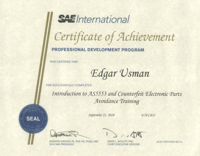 SAE AS5553 Training Completion Certificate
