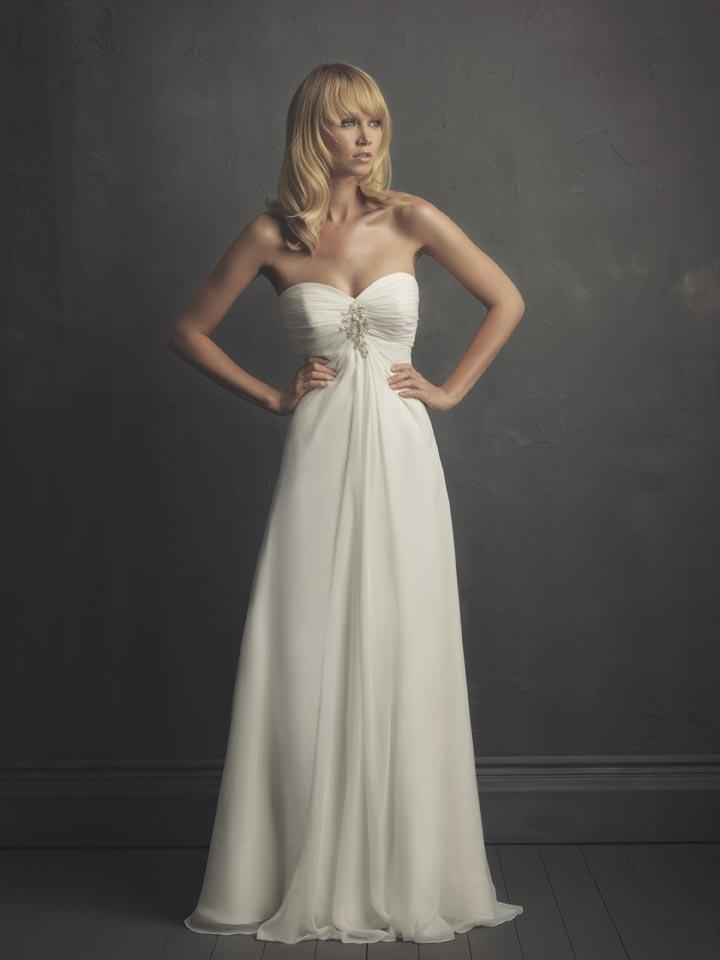 Ivory strapless baby doll column sheath unique 2011 for Empire wedding dresses uk