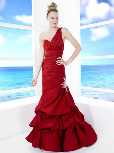 Red Dress Wedding Outfit : Red wedding dress gown one shoulder dresses