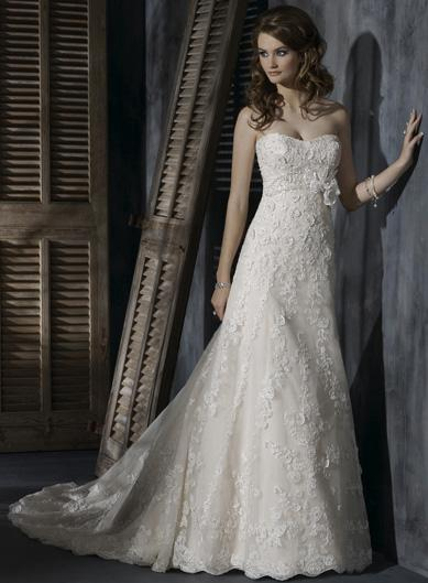 Light Gold Ivory Lace Romantic A-Line Silhouette Corset Wedding ...