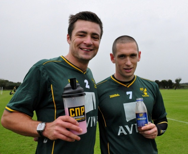 CNP fan Russell Martin (left) with Andrew Crofts at the Norwich City FC training ground