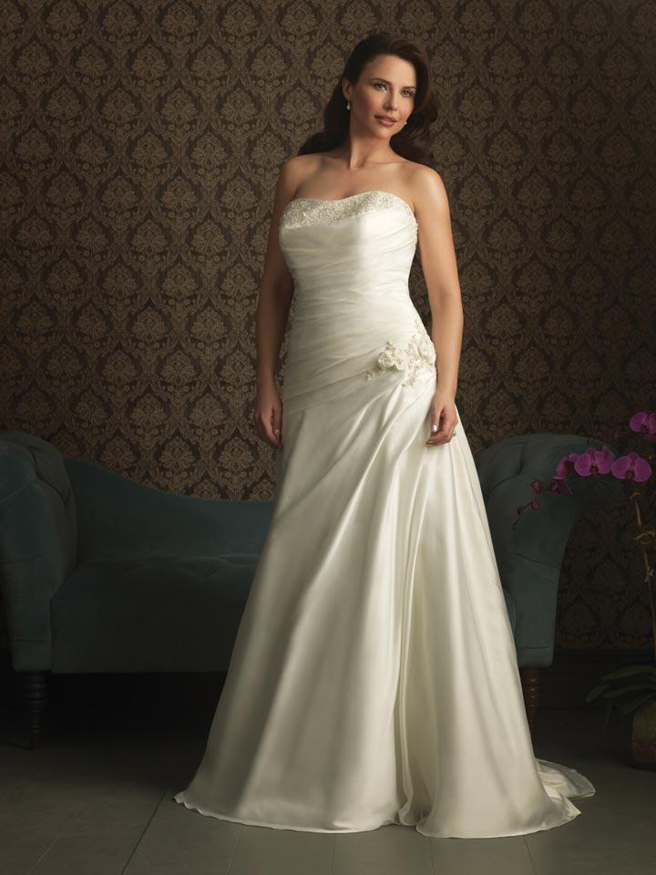 Ivory strapless beaded a line silhouette gowns plus size for Plus size beaded wedding dresses