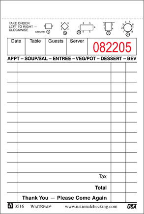 Waitress Order Pad Template Printable