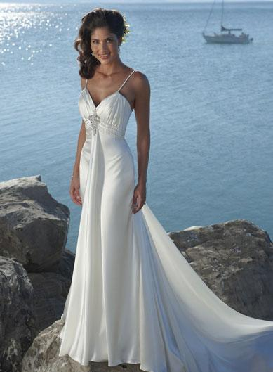 Slim A-line Silhouette Destination Wedding Dress -- zoombridal.com ...