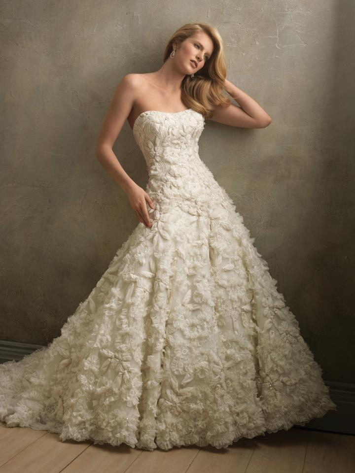 Full Applique Flower Ball Gown Couture Vintage Wedding Dresses ...