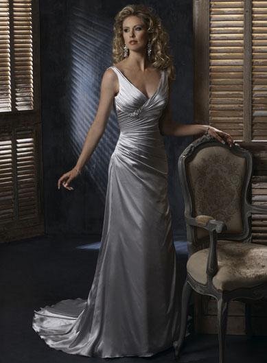 Silver v neck column sheath corset simple wedding dresses for Simple corset wedding dresses