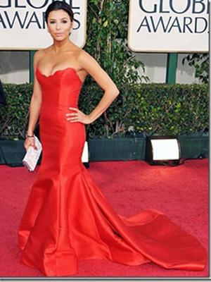 Eva longoria red mermaid dress