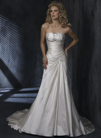 Ivory strapless pleating satin a line silhouette corset for A line corset wedding dress