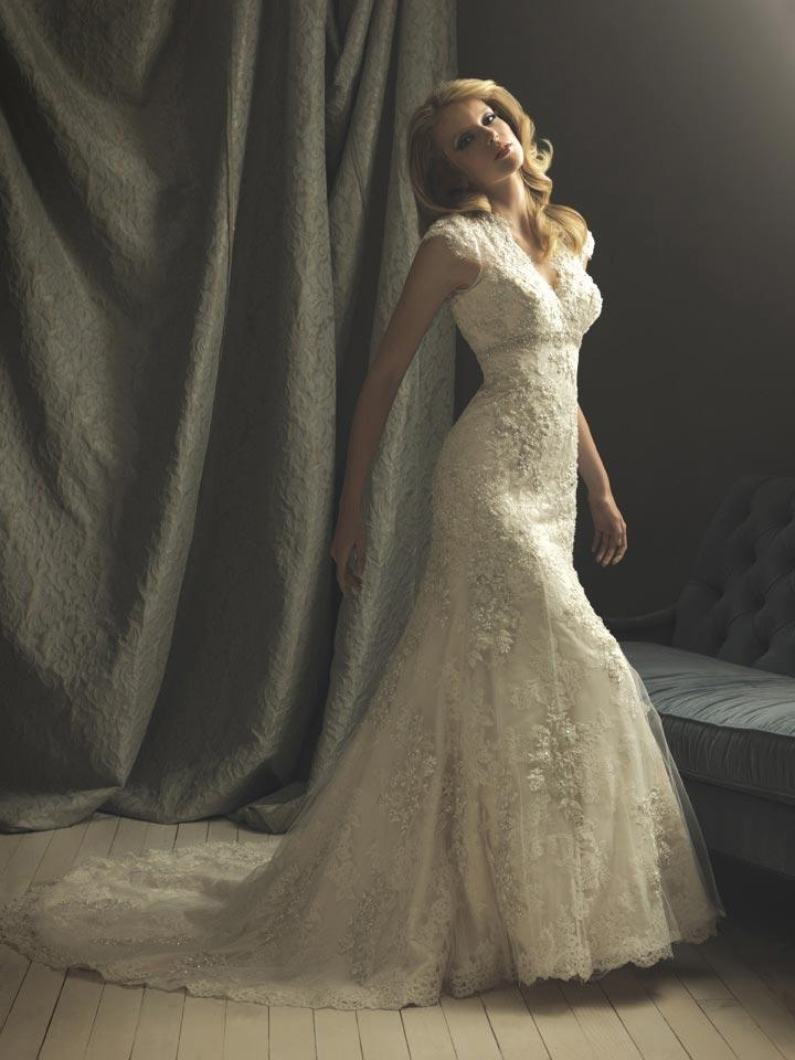 Ivory Lace Mermaid Trumpet Formal Vintage Wedding Dresses With Sleeves Zoombridal