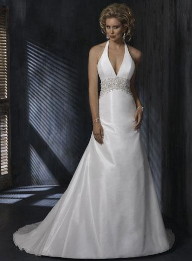 Halter top Beaded A-line Silhouette Taffeta Wedding Gowns ...