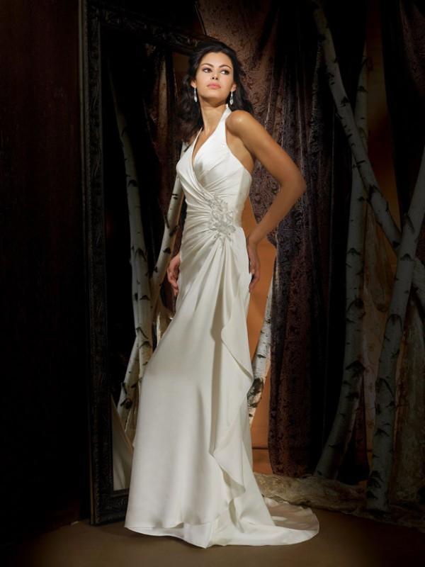 Halter top applique satin column sheath vintage wedding for Vintage satin wedding dresses