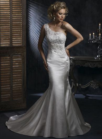 One Shoulder Embellished Lace Mermaid Trumpet Wedding Dress 2011 PRLog