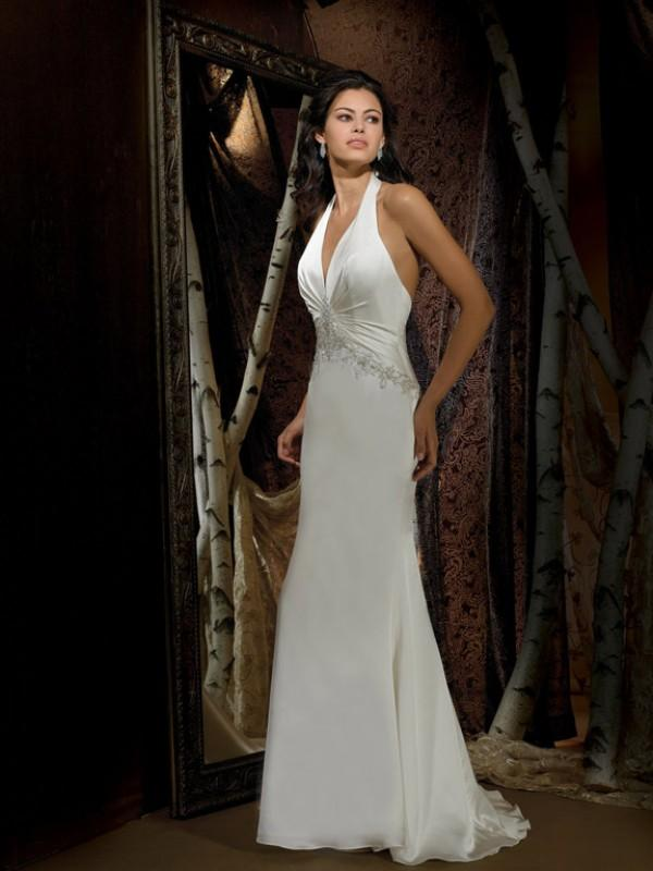 halter top beaded satin chiffon column sheath vintage wedding dresses
